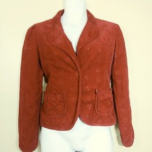 Coronel Tapiocca Red Corduroy Embroidered Blazer M